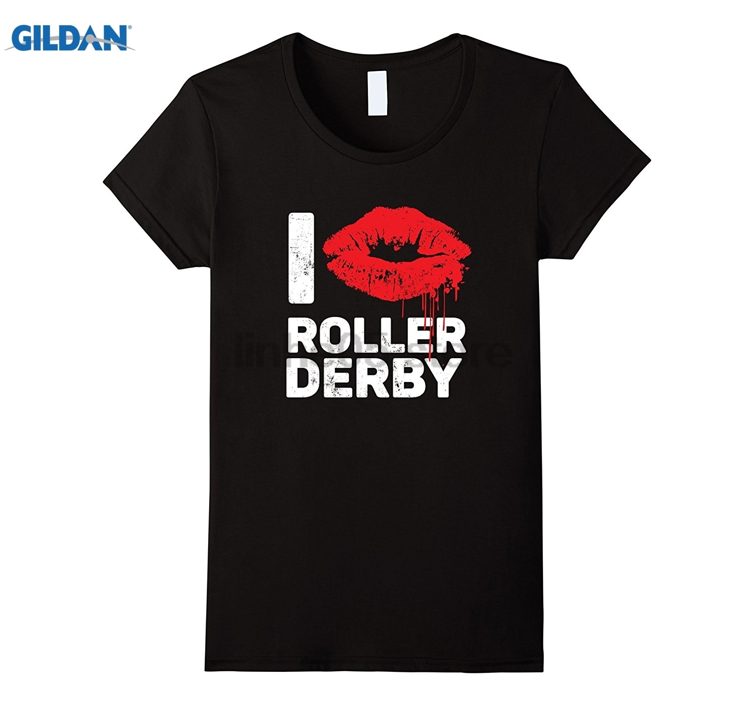 GILDAN Womens I Love Roller Derby T-shirt ~ Red Bloody Girl Lips Dress female T-shirt ...