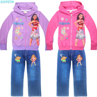 autumn new Moana fashion full children clothing sets girls kopcet cartoon long sleeved sweater + jeans suit sets kids costume