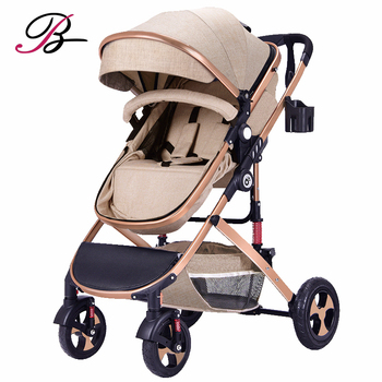 2019 Baby Stroller No Car Seat For 0-3 Years Baby Khakii 3 in 1 baby stroller with Explosion-proof wheel
