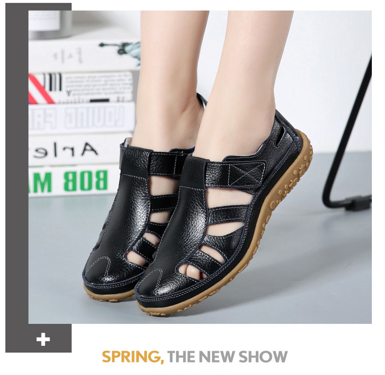 HTB13LpzMXzqK1RjSZFoq6zfcXXan Women Gladiator Sandals Split Leather Summer Shoes Woman Hollow out Flat Sandals Ladies Casual Soft bottom Female Beach Sandal