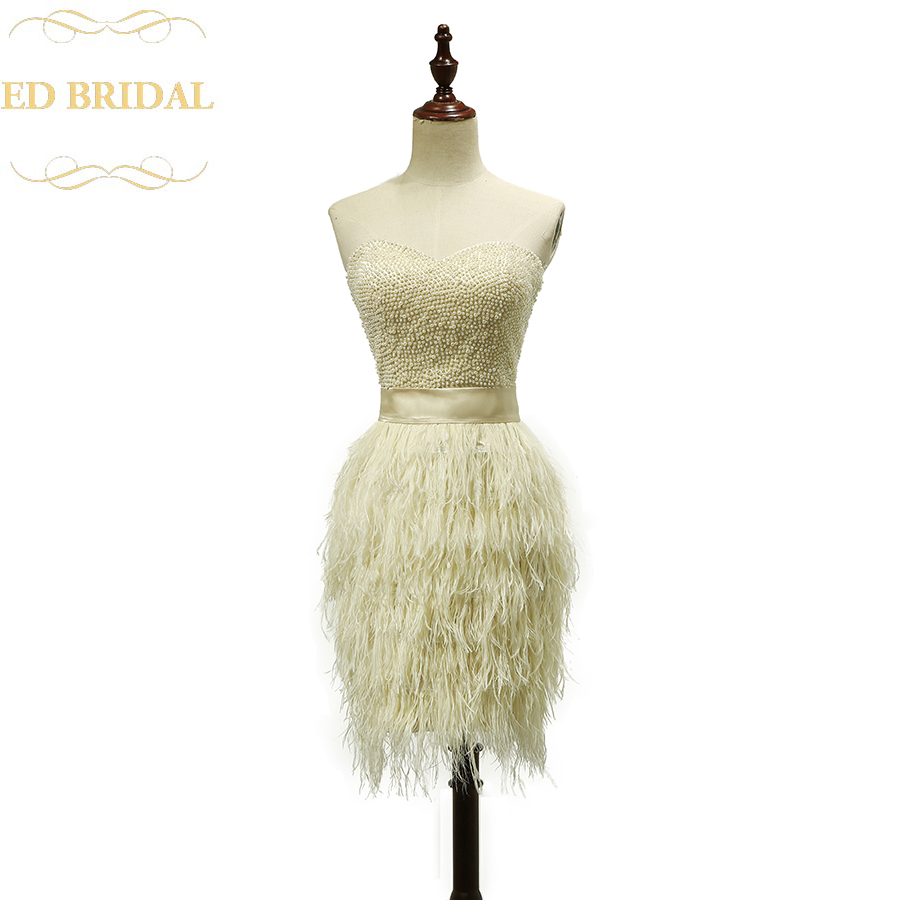 2016 Champagne Short Feather Cocktail Dress with Pearls on Top Sexy Party Dress Vestido de festa curto de luxo