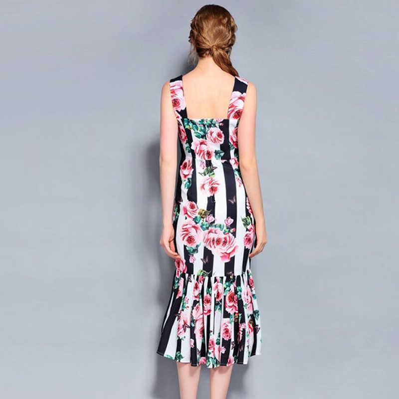 YÜKSEK KALITE Yeni Moda Tasarımcısı 2019 Pist Elbise kadın Spagetti Kayışı Çizgili Gül Baskılı Mermaid Elbise