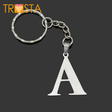 Trusta 2018 Women/Men's Fashion Stainless Steel Letter A B C D E F G H I J K L Jewelry Key Chains Key Rings Charms Gifts YSSZM(China)