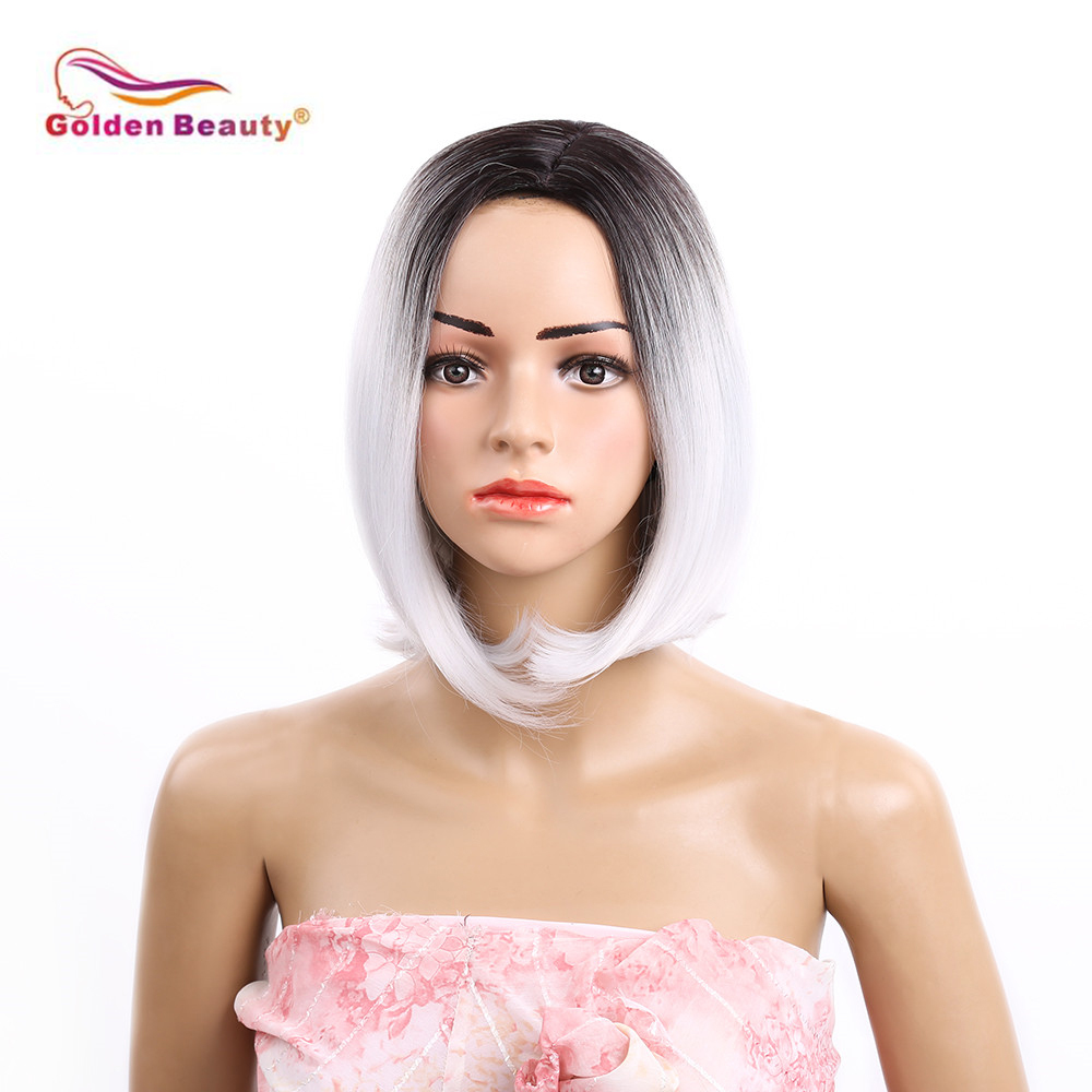 Short Bob Wig 12inch Straight Syntheyic Hair Women Wig Natural Looking Heat Resistant As Real Hair-Black to Grey Golden Beauty