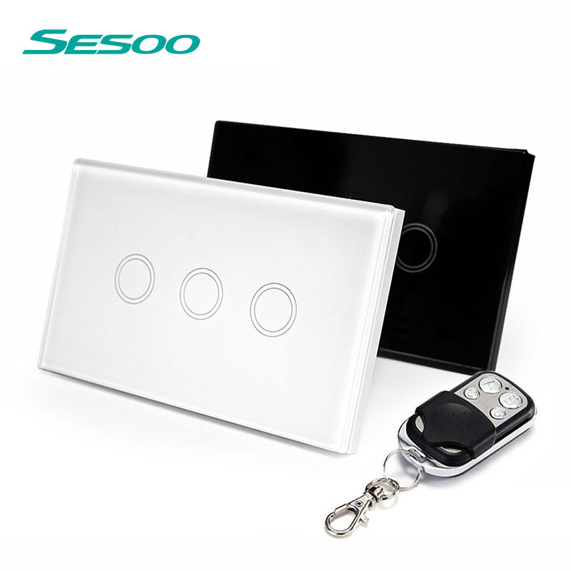 US Standard SESOO Remote Control Switch 3 Gang 1 Way ,RF433 Smart Wall Switch, Wireless remote control touch light switch funry eu uk standard wireless remote control light switches 2 gang 1 way remote control touch wall switch for smart home