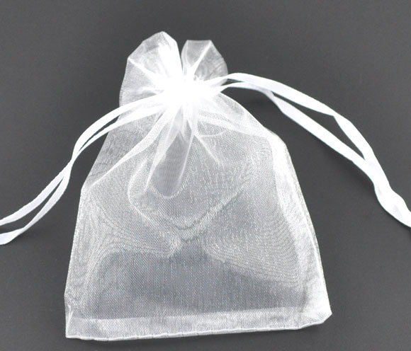 DoreenBeads Gift Pouch &bag, Organza, White, With Draw, Wedding, 9x7cm. Sold Per Packet Of 5 2015 New