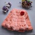 Estilo do inverno Rosa Bebê menina casaco de pele grama de Couro da moda Coreana Princesa Faux fur casaco curto 4 cores