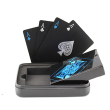 Free Shipping Black color plastic pvc poker with metal box package waterproof thick playing cards set for collection pokers card