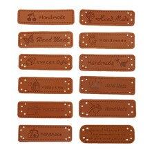 Etiquettes cuir synthétique marron 5x1.5cm sur vêtements | Ensemble de 12 pièces d'étiquettes faites à la main, étiquettes de vêtement pour sacs, chaussures, accessoires de couture