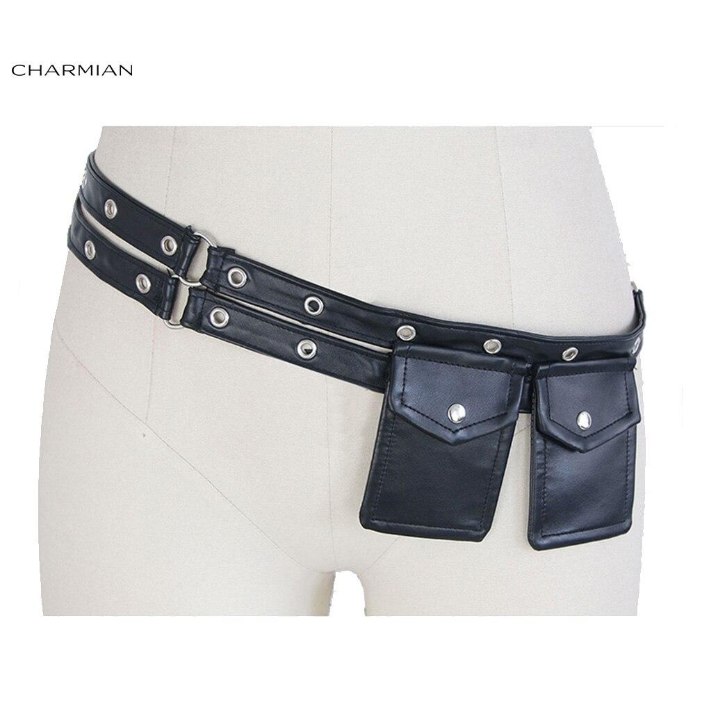 4e8829bee4a US $5.39 40% OFF|Charmian Women's Steampunk Black Faux Leather Pouch Belt  Pocket Elastic Waist Belt Corset Costume Accessories-in Bustiers & Corsets  ...