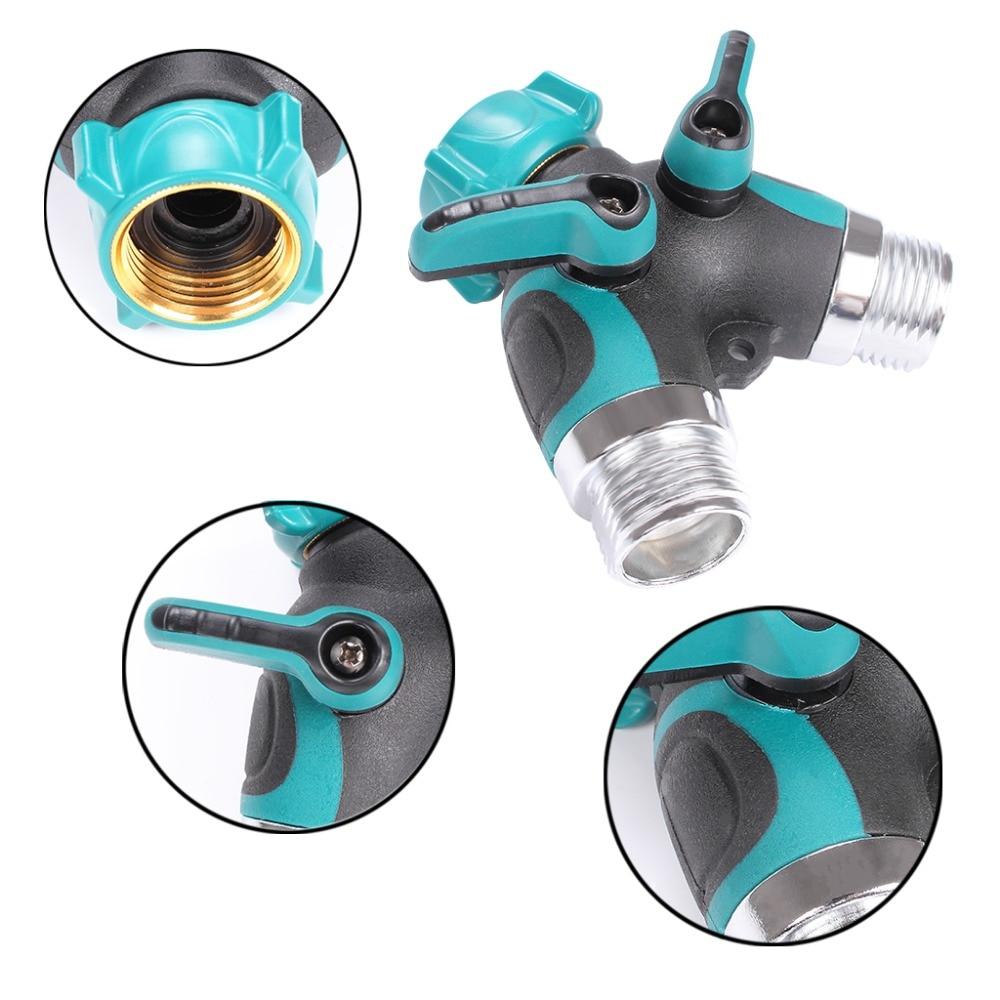 2 Way Y Garden Hose Splitter Rubberized Grip Faucet