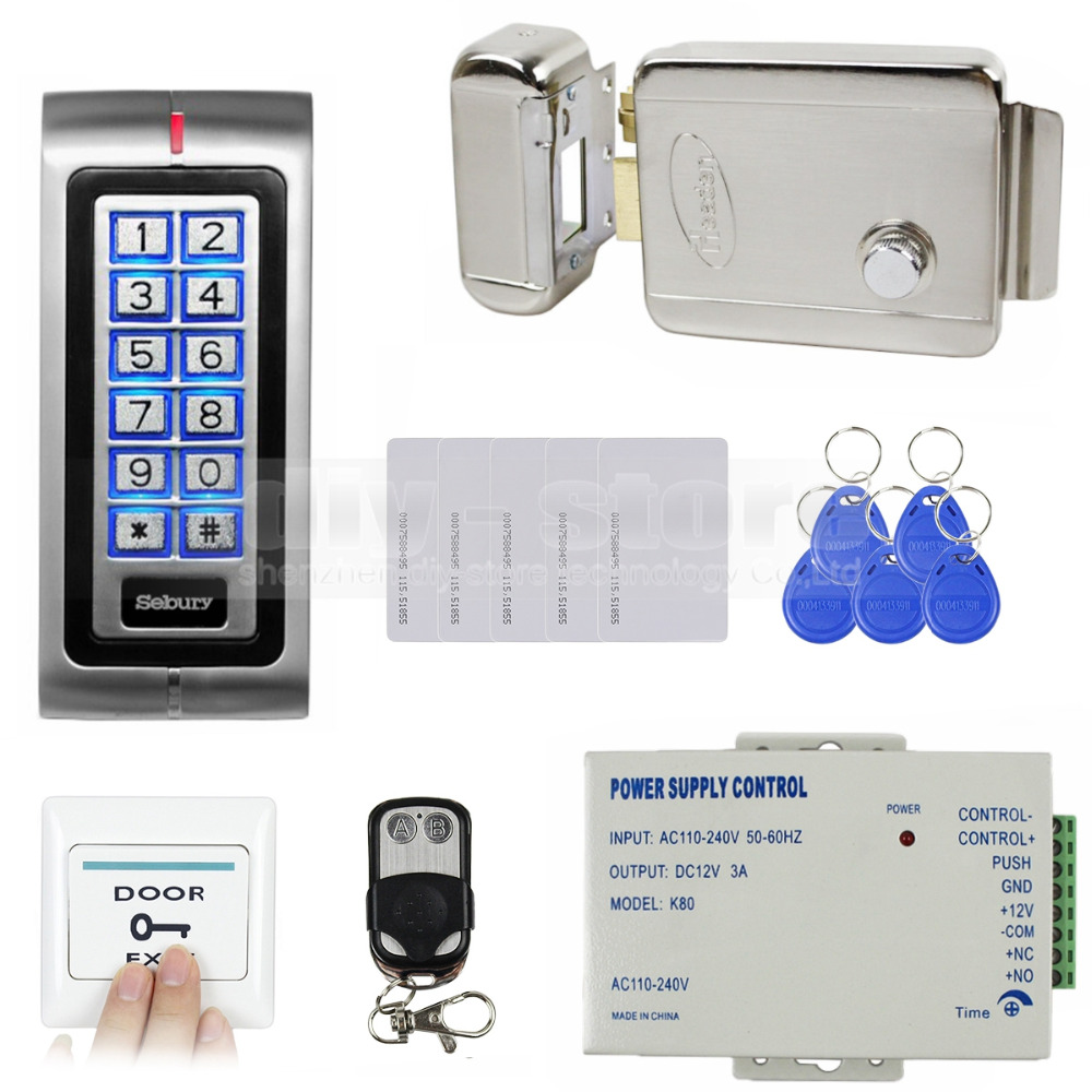 DIYSECUR RFID 125KHz ID Card Reader Access Control Kit Security System + Electronic Lock + Remote Control  K2
