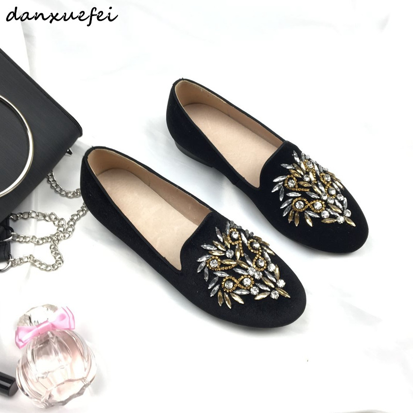 3 Color plus size women's flats loafers brand designer Rhinestone leisure ballerinas high quality ballet flats velvet shoes sale