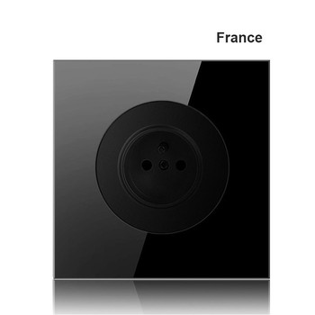 EU France Germany UK socket Full set of 86 type 1 2 3 4 gang 1 2way black mirror glass wall switch LED light switch Industry 1
