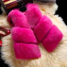 S-3XL, новинка, Осень-зима, толстый теплый жилет из искусственного лисьего меха, Женская Высококачественная модная короткая Шуба с v-образным вырезом, женский меховой жилет