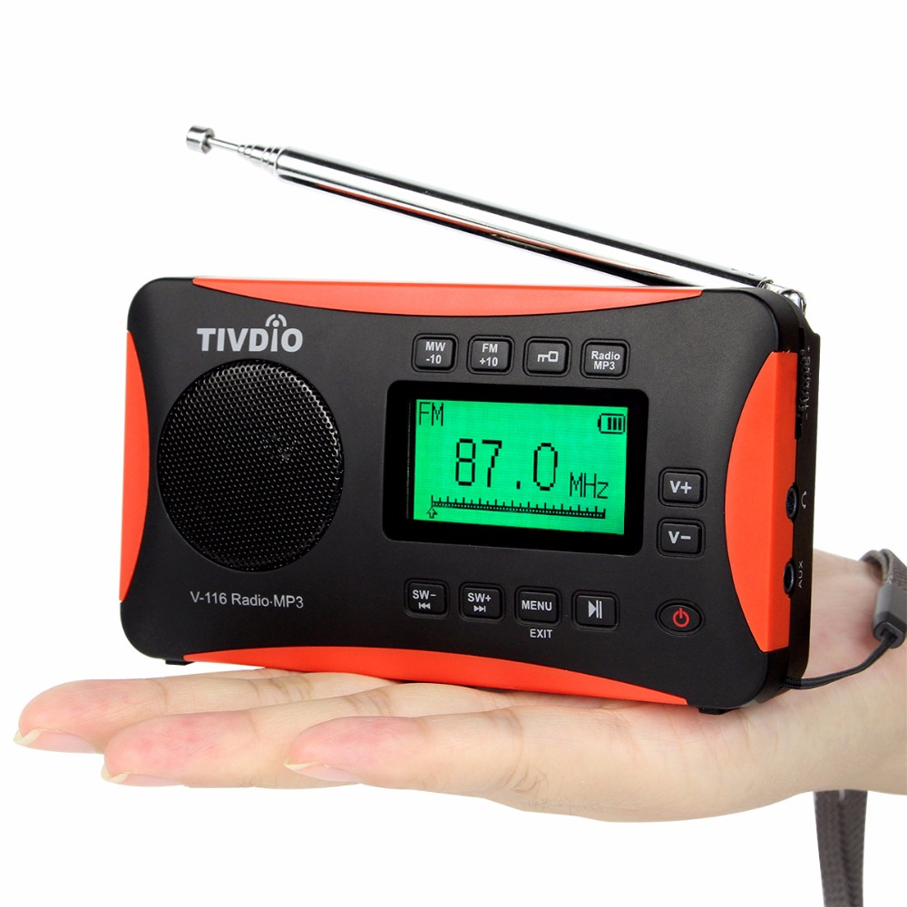TIVDIO V-116 FM MW SW DSP Shortwave Transistor Radio Receiver Multiband MP3 Player Sleep Timer Alarm Clock F9206A portable fm am sw radio multiband radio receiver bass sound mp3 player rec recorder portatil radio with sleep timer f9205a