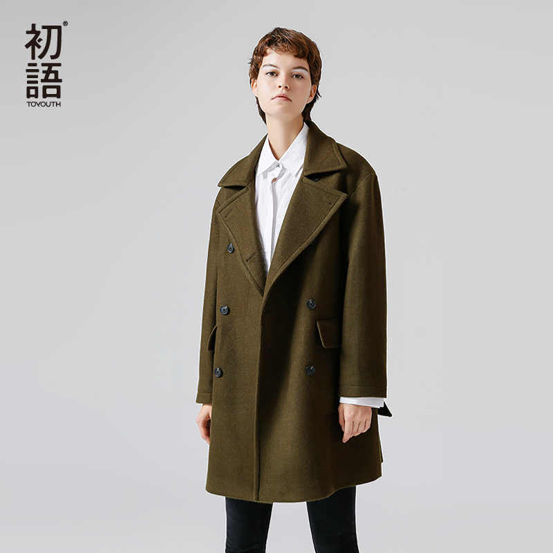 Toyouth Woolen Coat 2019 Winter Women Fashion Straight Doublebreasted Long Turndown Collar Long Sleeves Woolen Coat