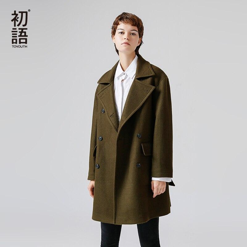 Toyouth الصوفية معطف 2019 الشتاء النساء أزياء مستقيم Doublebreasted طويلة كي طوق طويل الأكمام الصوف معطف-في صوف مختلط من ملابس نسائية على  مجموعة 1