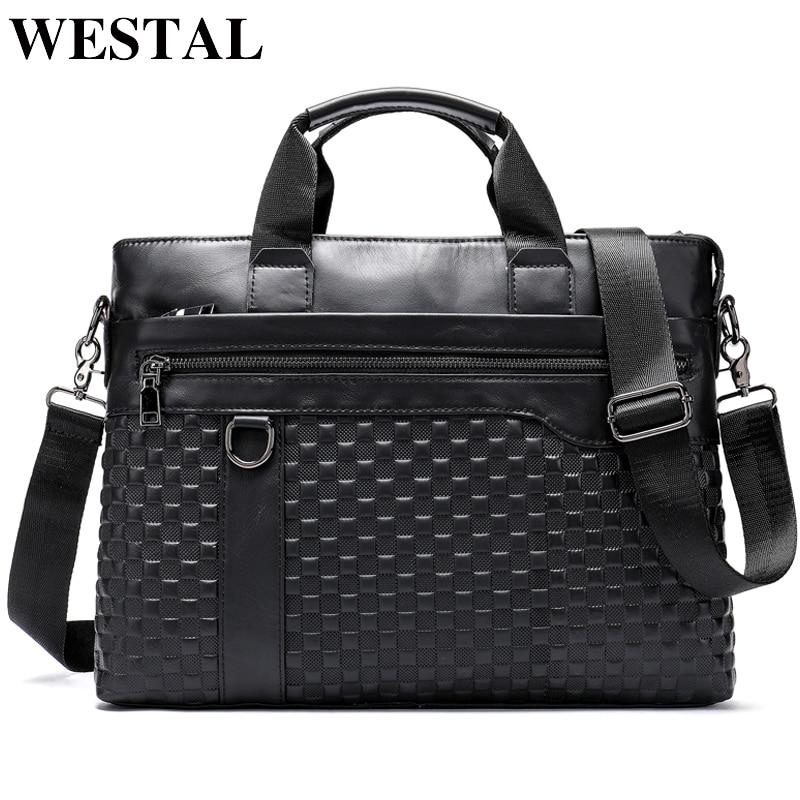WESTAL Men's Briefcase Bag Men's Genuine Leather 14inch Laptop Bag Men Business Document Office Bag For Men Briefcase Handbag