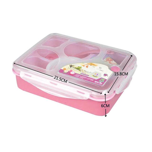 Lunch Box Five Plus A With Bowl Microwave Multi-Compartment Pink and Blue Lunch Box Brand New Marmita Termica #09261