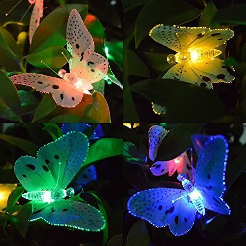 12/20 LED Solar Powered Butterfly Fiber Optic Fairy String Waterproof Lights 2
