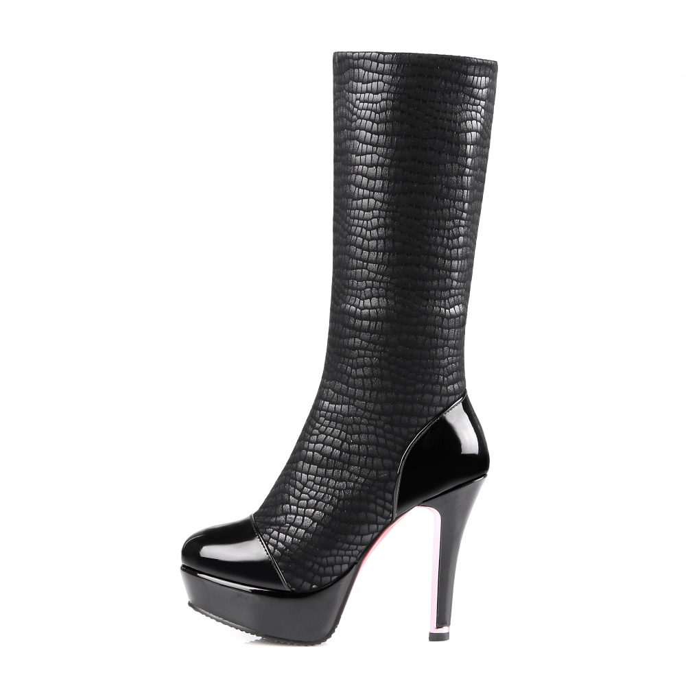 Popular Women Mid-Calf Boots Platform Round Toe Thin Heels Boots High-quality Black Blue Wine Red Shoes Woman US Size 4-16 zippers double buckle platform mid calf boots