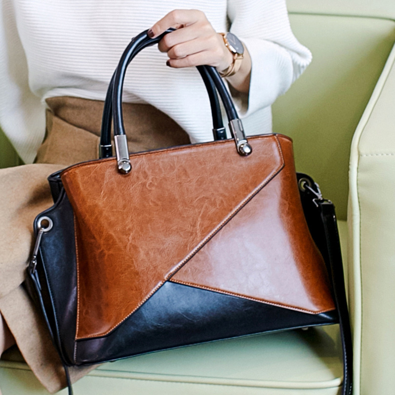 LKX LKX European Demeanour New Pattern Woman Package Wax Oil Fashion Satchel Handbag Single Shoulder Bag Retro Bags For Women the imported oil wax pattern leather singel shoulder satchel small men s messager bag retro 7 inch for outdoor tourism