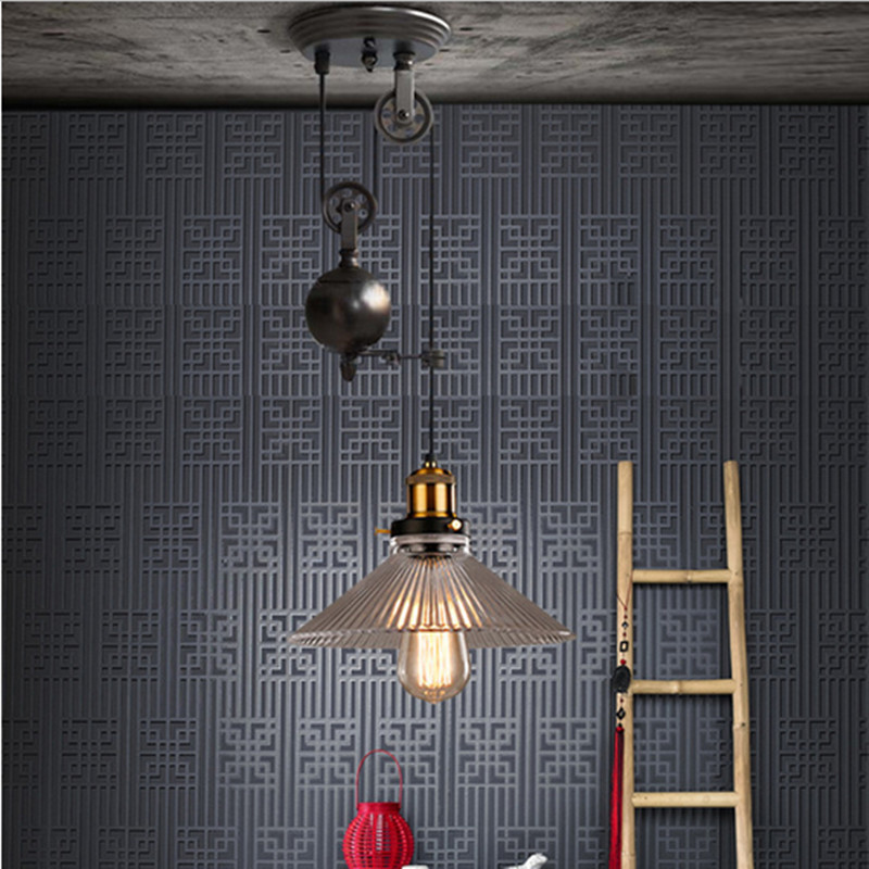 Dining room glass or metal shade lifting hanging lamps retro vintage Pulley pendant lights E27*1 kitchen light rustic bar sconce fumat european style vintage pendant lamp dining room living room glass shade metal lamps american led metal brief pendant light