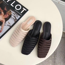2019 Summer Shoes Women Close Toe Slippers Flat Casual Mule Shoes Weaving Sandals Slip On Slides Female Slipper Beach Flip Flops