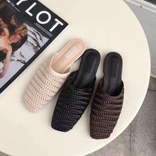 купить 2019 Summer Shoes Women Close Toe Slippers Flat Casual Mule Shoes Weaving Sandals Slip On Slides Female Slipper Beach Flip Flops дешево