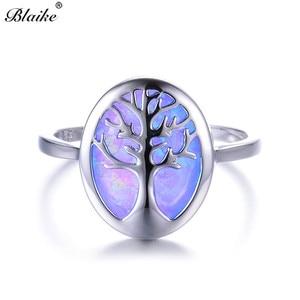 Blaike Luxury Blue/White Fire Opal Cute Life Tree Rings For Women Men 925 Sterling Silver Birthstone Fine Jewelry Graduate Gift(China)