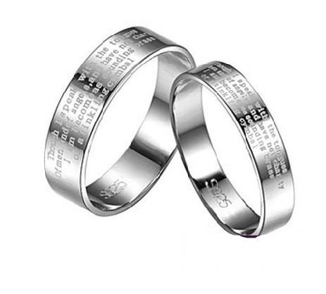 1 Corinthians 13 Spiritual 925 Sterling Silver Pair Bands Rings