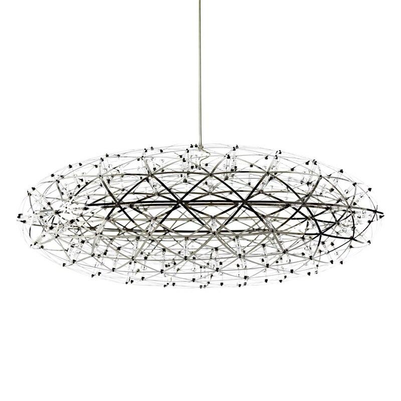 Modern LED Pendant Lamp Oval shape Dia. 75cm 92 lamp hand made chrome Stainless Steel Firework Light Restaurant Hotel bar home