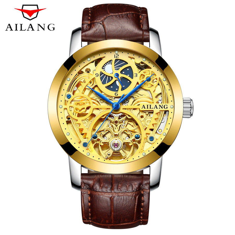 AILANG 2017 Fashion Golden Star Luxury Design Clock Mens Watch Top Brand Luxury Mechanical Skeleton Watch Male Wrist Watch mens mechanical watches top brand luxury watch fashion design black golden watches leather strap skeleton watch with gift box