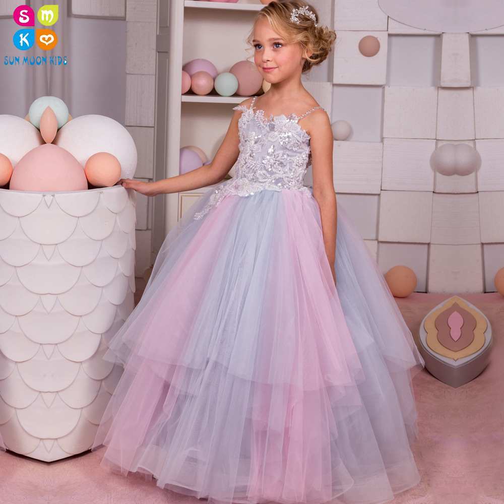 2018 New Arrival High Quality Colorful Sequin Crystal Lace Flower Girl Dress Spaghetti Straps First Communion Dresses For Girls stylish spaghetti straps sleeveless lace up print women s dress