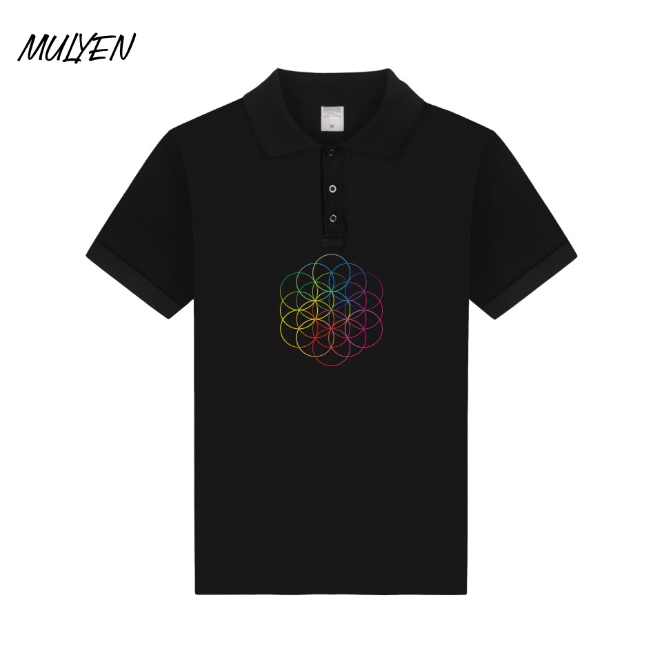 2015 new real camisa solid polo shirt mens fashion cool design short - Mulyen Summer Coldplay Polos Casual Polo Shirt Men Fashion Music Rock Band Polo Shirt Cotton Short Sleeve Breathable Camisa