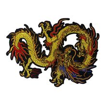 1Pcs 24*17cm Golden Dragon Clothes Patches Embroidery Decoration Lace Fabric Motifs Applique Sew On Stiker Patches A349