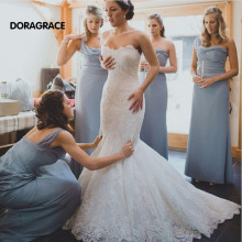 New Arrival Romantic Applique Lace Wedding Dresses Mermaid Bridal Gown Designer Gowns DG0076