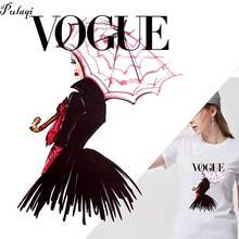 Hot Europe Style VOGUE Heat Transfer Patches For Clothing Girl Stickers Iron On Diy T-shirt Thermal Sticker H