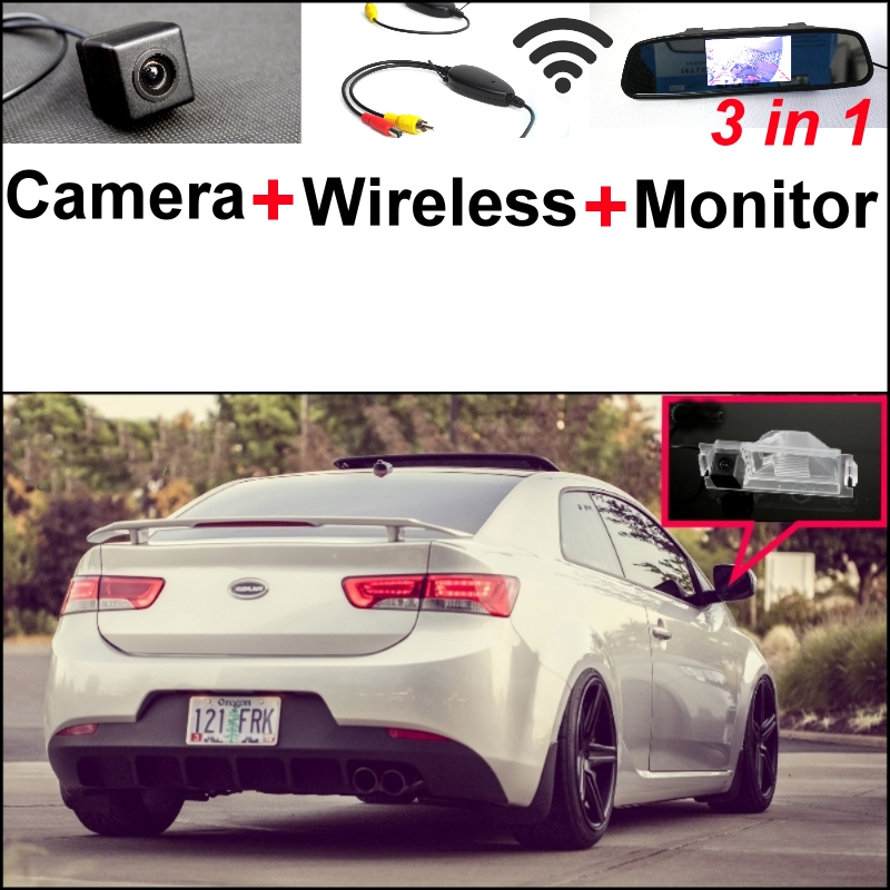 3 in1 Special Camera + Wireless Receiver + Mirror Monitor Easy DIY Parking System For KIA K3 Cerato Forte Coupe Model 2008~2015 wireless pager system 433 92mhz wireless restaurant table buzzer with monitor and watch receiver 3 display 42 call button