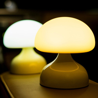 ICOCO USB Rechargeable Cartoon Silicone Mushroom LED Night Light Table Lamp Bedroom Decor Battery Powered Hanging