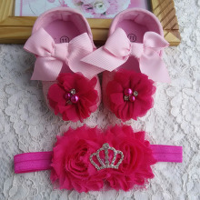 Shoes baby hair accessories setToddler flowers Baby Girl Shoes;Baby lace bow Christening  Flower toddler boots