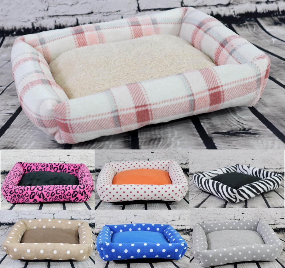 Hot Small plush pet cat dog rabbit House sofa bed Kennel winter Soft Fleece warm indoor Dog puppy bed mat nest 40*40*10cm image