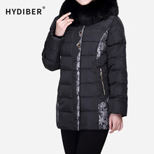 Plus Size 4XL Winter Thick Coat Women Embroidery Jacket Long Parkas Hooded Fur Collar Cotton Padded Slim Jacket Wadded Outerwear