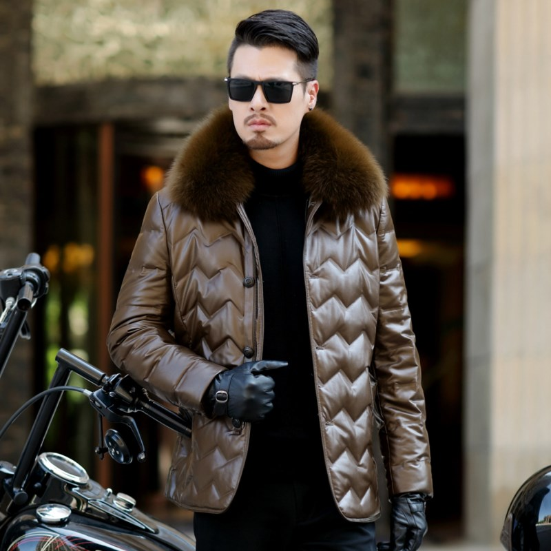 HTB13Ls9egHqK1RjSZFPq6AwapXap Jaqueta Couro Sale Men Engine Leather Parka Winter Down Jacket 2018 New Middle-aged Sheep Coats Large Size Outerwear Male No520