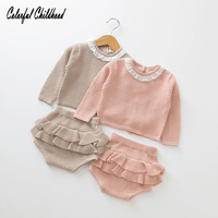 MY First Christmas Outfits Baby Girl Boys Clothing Set Ruffles Sweaters Knited Pants Sets Warm Toddler