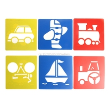 6Pcs Children Transport Shaped Plastic Painting Drawing Template Stencil Kids Toy Gift HC6U Drop shipping