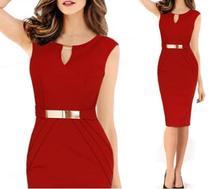 купить Women Summer Dress 2018 New Fashion Hollow Out Sleeveless Pencil Dress Knee Length Women Casual Dresses Yellow Red Blue Black дешево