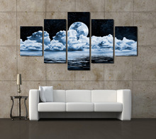 Unframed 5 Panels Abstract Moon Scenery Canvas Print Painting Modern Canvas Wall Art for Wall Pcture Home Decor Artwork