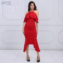 Adyce 2018 New Women Bandage Dress Red Black Short Sleeve Vestidos Ruffles Ankle Length Celebrity Evening Party Dresses
